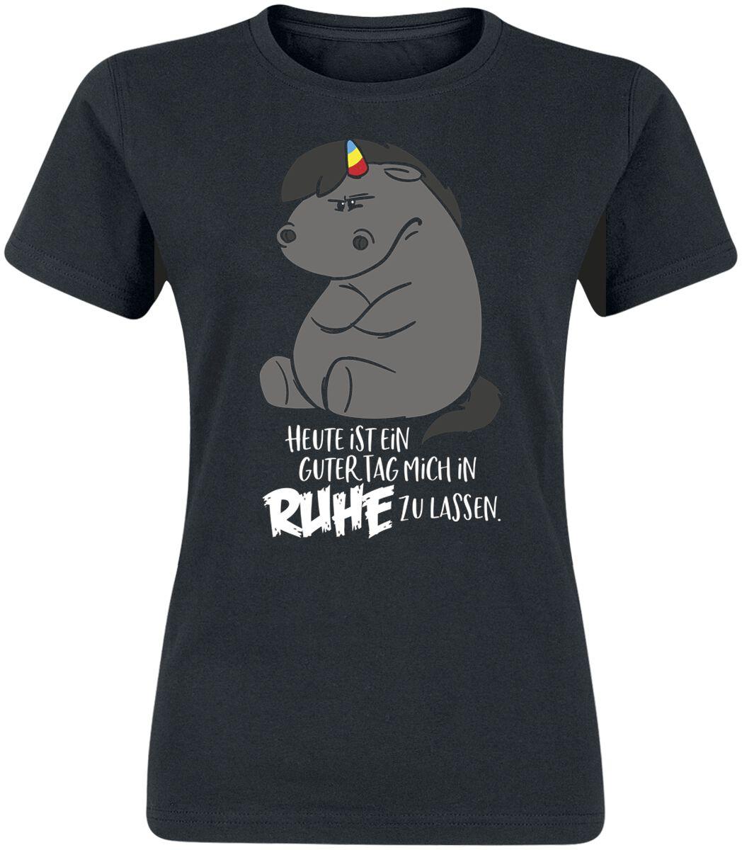 Pummeleinhorn Grummeleinhorn - Heute ist ein guter Tag mich in Ruhe zu lassen. T-Shirt schwarz #04178