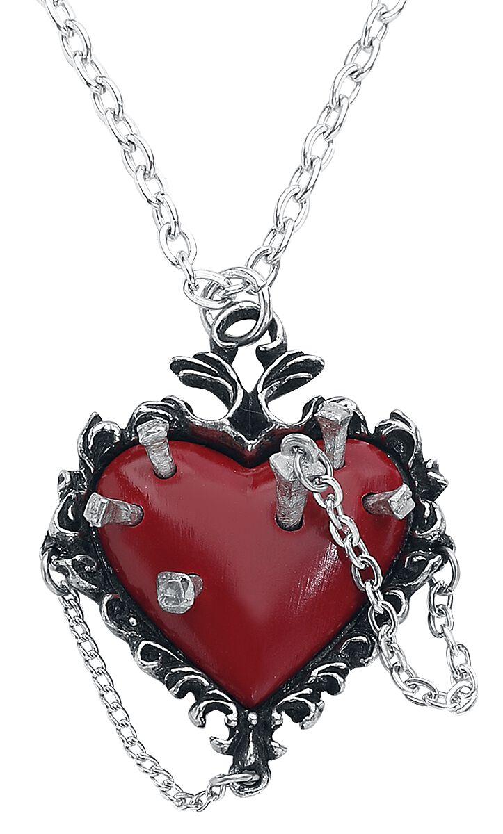 Alchemy Gothic Witches Heart Halskette silberfarben P855R