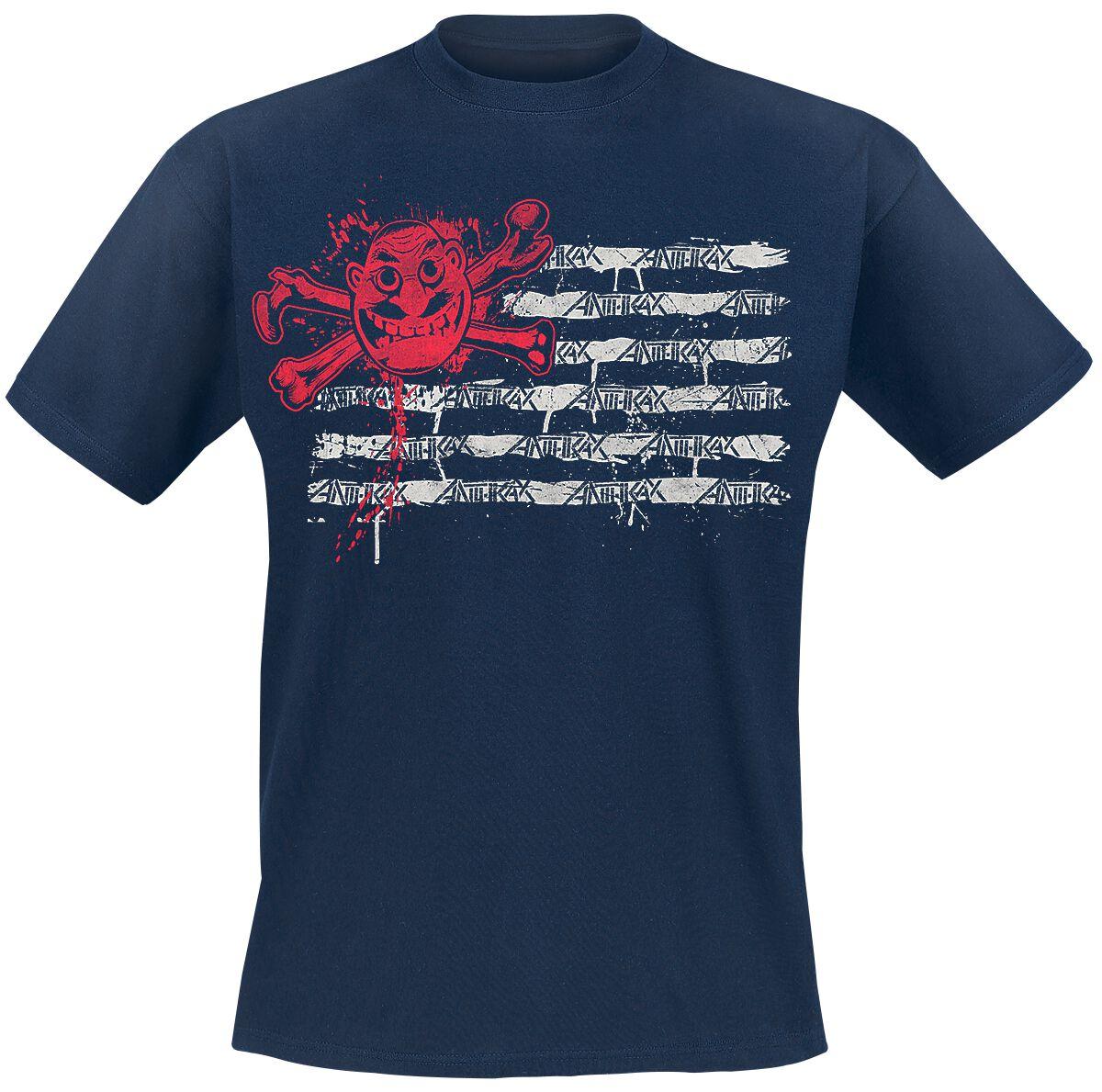Image of Anthrax Grunge Flag T-Shirt dunkelblau