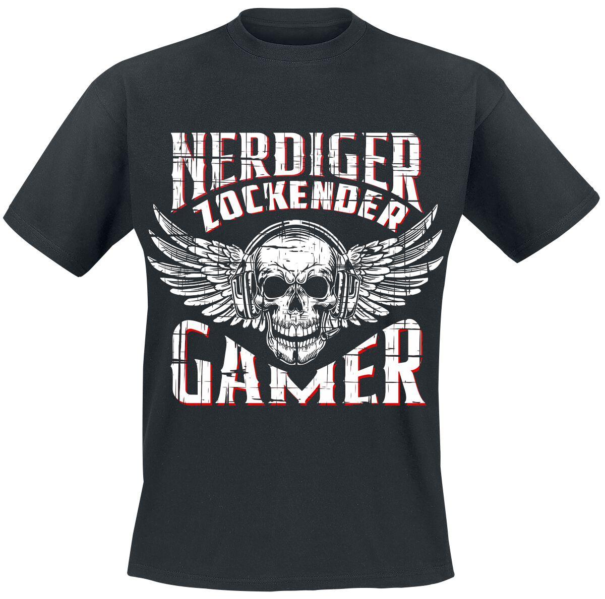 Nerdiger Zockender Gamer Nerdiger Zockender Gamer T-Shirt schwarz POD - Nerdiger zockender gamer - Gildan