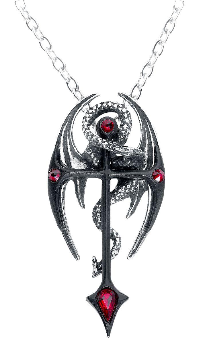 Image of   Alchemy Gothic Draconcross Halskæde sort-sølv