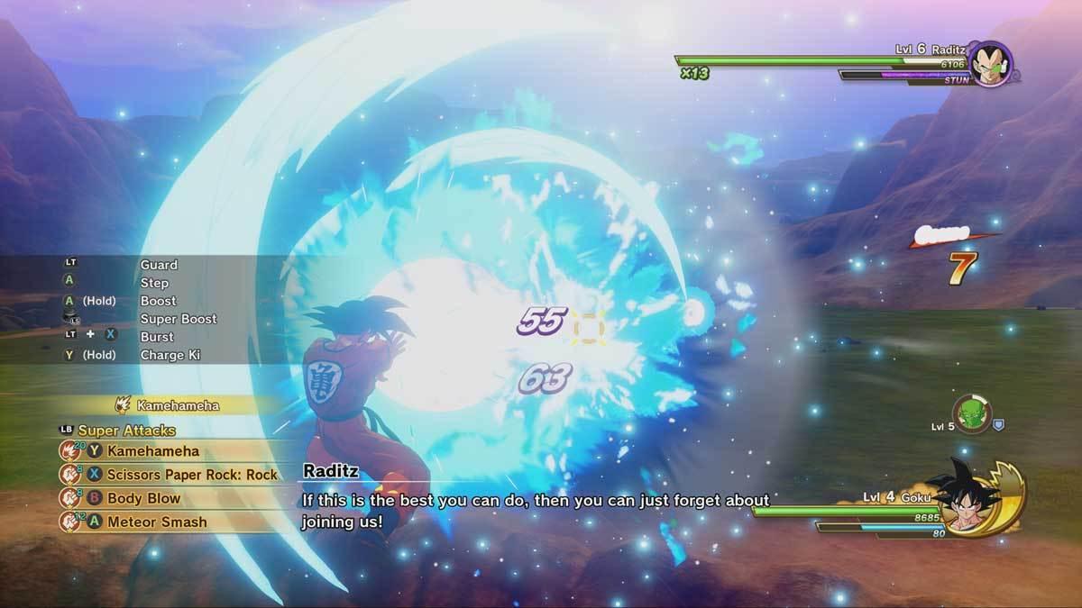 Goku lässt es ordentlich krachen - sieht fett aus.