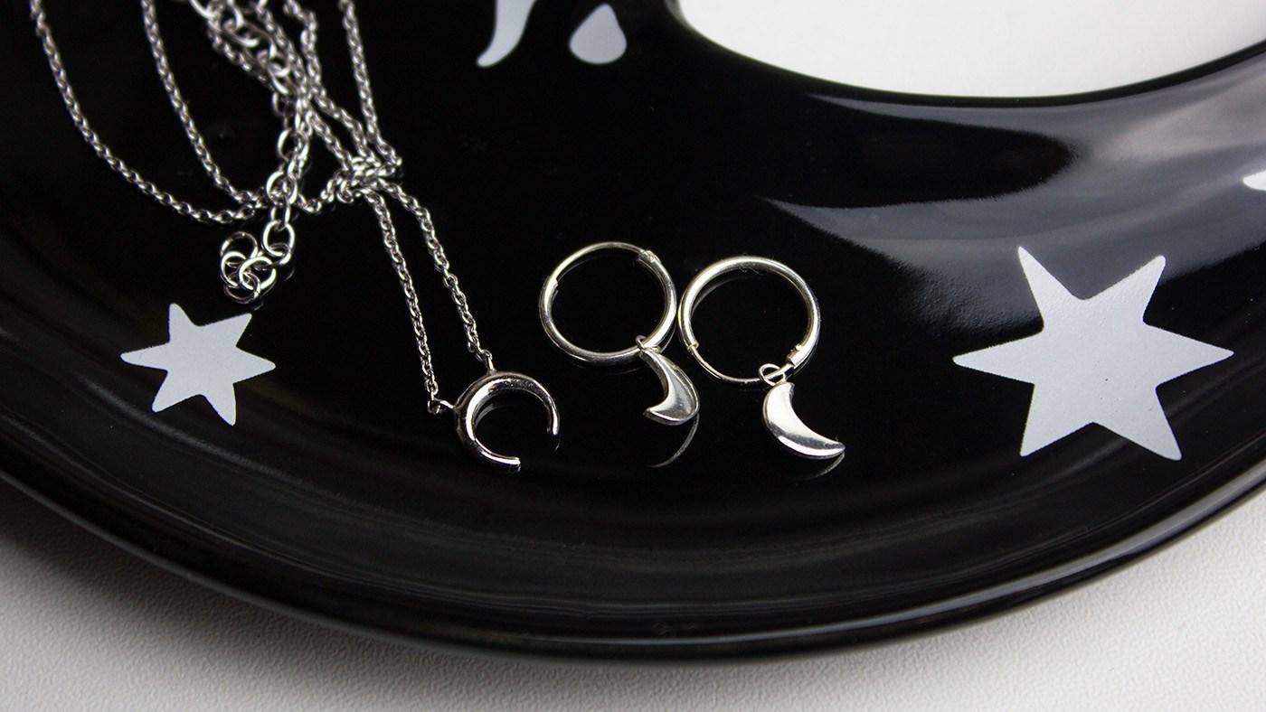 Mondsichel Halskette und Sichelmond Ohrringe