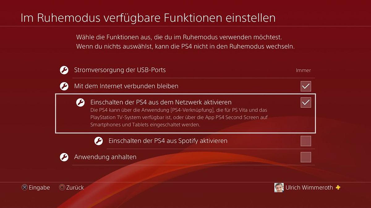 In den Einstellungen müssen nur Kleinigkeiten geändert werden. Screenshot: Sony/Ulrich Wimmeroth.