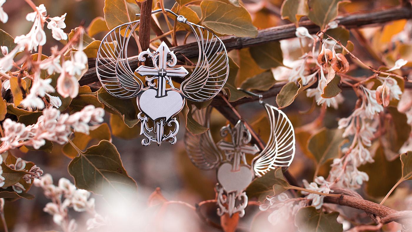 Winged Heart Dagger Hoops